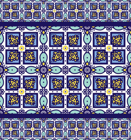 azulejos: Blue ornament traditional Portuguese azulejos. Oriental seamless pattern imitating the sky-blue glazed ceramic tiles, majolica. Azulejos for fabrics, prints, t-shirts, bags, wrapping paper.
