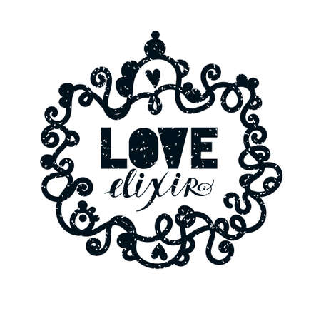Love elixir. Alchemist elegant monochrome lable. Vector Tattoo art. Romance, occult. Vintage style.  Valentines day concept.