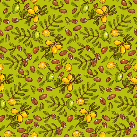 ironwood: Seamless pattern branches, leaves, nuts, fruits, argan tree (ironwood). Suitable for packing Argan oil creams. Vector illustration of a hand drawn style.Texture for scrapbooking, wrapping paper, textiles.