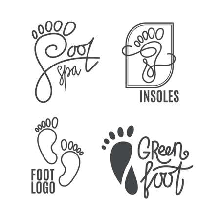 Foot silhouette. Health Center logo, orthopedic salon. Sign bare foot. Silhouette footprint. Business abstract set logos. Vector illustration. Stock Vector - 55185821