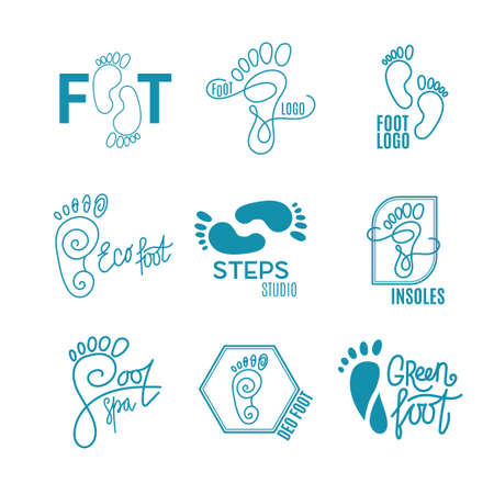 flat foot: Logo of center of healthy feet. Human footprint sign icon. Barefoot symbol. Foot silhouette. Business abstract set logos. Vector illustration