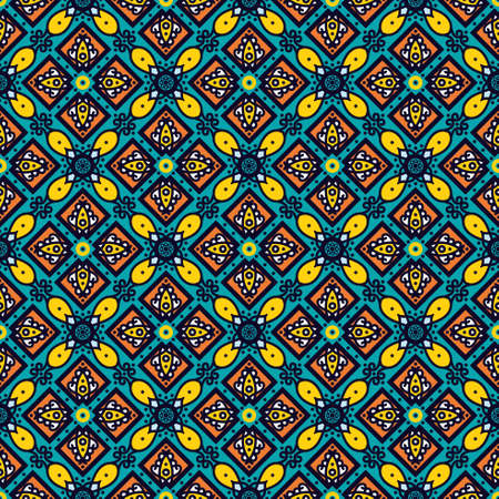 spanish tradition: Bright traditional Talavera ornament. Mexican seamless pattern simulates colorful glazed ceramic tiles. For fabrics, prints, t-shirts, bags, wrapping paper. Illustration