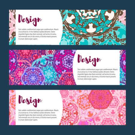 tantra: Templates banners set. Floral mandala pattern and ornaments. Oriental design Layout. Asian Arabic Indian ottoman motifs. Illustration