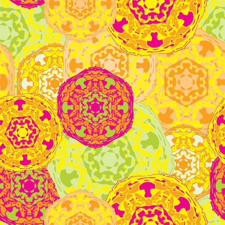 seamless tile: Gypsy seamless pattern of abstract multicolored round mandalas. Ethnic background with Aztec, Moroccan, Islamic, Indian motifs. Ethnic mandala from bold lines. Stylized floral pattern.