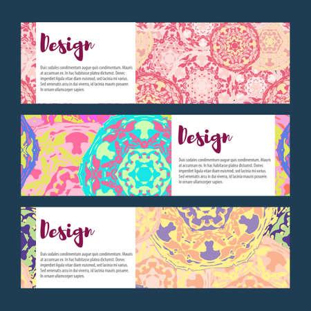 broadsheet: Templates banners set. Floral mandala pattern and ornaments. Oriental design Layout. Asian Arabic Indian ottoman motifs. Illustration
