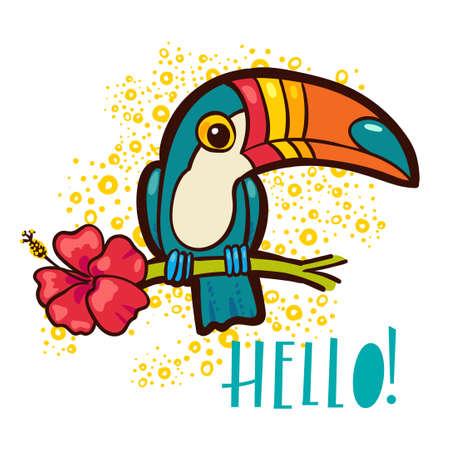 Vogel Toucan (Ramphastida), tropische Hibiskus-Blume im Cartoon-Stil. Die Phrase Hallo. Geeignet für den Druck auf T-Shirt, Plakat-Dschungel Postkarte für Kinder