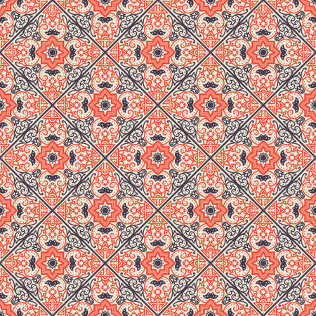 spanish tradition: Talavera tile. Vibrant Mexican seamless pattern, originally from Morocco and Lisbon. For fabric, textile, patchwork, flooring and walls Illustration