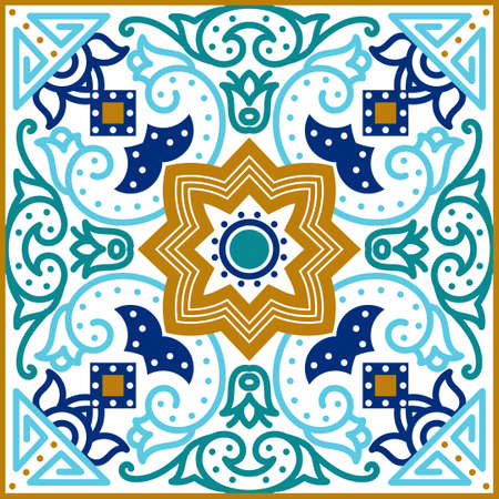 flooring: Talavera tile. Vibrant Mexican seamless pattern, originally from Morocco and Lisbon. For fabric, textile, patchwork, flooring and walls Illustration