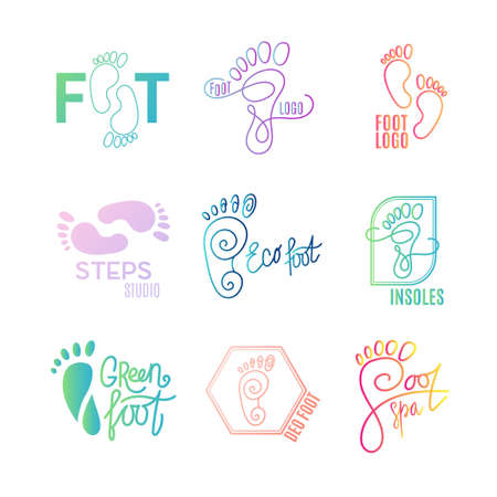 barefoot walking: Logo of center of healthy feet. Human footprint sign icon. Barefoot symbol. Foot silhouette. Business abstract set logos. Vector illustration