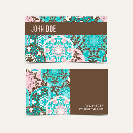 Template business cards with oriental Islamic pattern. Business card with Arabic pattern. Vintage decorative mandala pattern. Decorative floral business cards, turkish design, vector template.