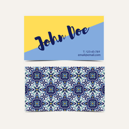 azulejos: Business card with blue ornaments Portuguese azulejos. Template for corporate identity