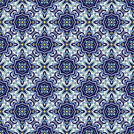 faience: Blue ornament traditional Portuguese azulejos. Oriental seamless pattern imitating the sky-blue glazed ceramic tiles, majolica. Azulejos for fabrics, prints, t-shirts, bags, wrapping paper.