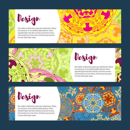 tantra: Templates banners set. Floral mandala pattern and ornaments. Oriental design Layout. Asian Arabic Indian ottoman motifs. Illustration