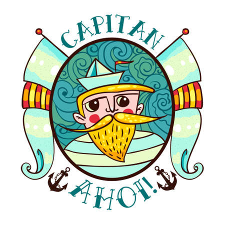 jack tar: Seaman Illustration with a lighthouse in the style of an old tattoo. Lovable Captain Ahoi salty seas with a beard and mustache, paper boats and flags. Printing on T-shirt, bag, poster Illustration