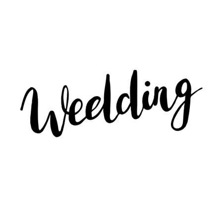 Wedding, hand-drawn labels for greeting cards, wedding invitations design, photo overlays. Modern calligraphic handwritten background. Illustration