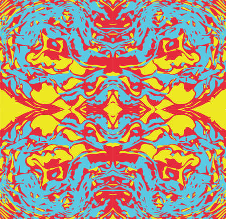 Abstract color vector seamless  pattern psychedelic background. Çizim