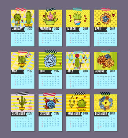 pear shaped: Calendar for 2017 of cacti, succulents in a contemporary style on a blue background and patterns. Vector. Illustration