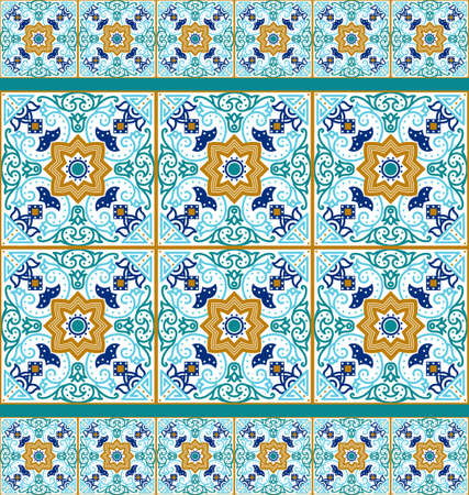 talavera: Talavera tile. Vibrant Mexican seamless pattern, originally from Morocco and Lisbon. For fabric, textile, patchwork, flooring and walls Illustration