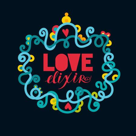 elixir: Amor elixir. lable elegante alquimista. Vector. Vintage estilo romance. Concepto del día de San Valentín.