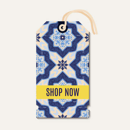 azulejos: Tag with Portuguese blue ornament azulejos. Template for gift coupon, voucher, tags, Illustration