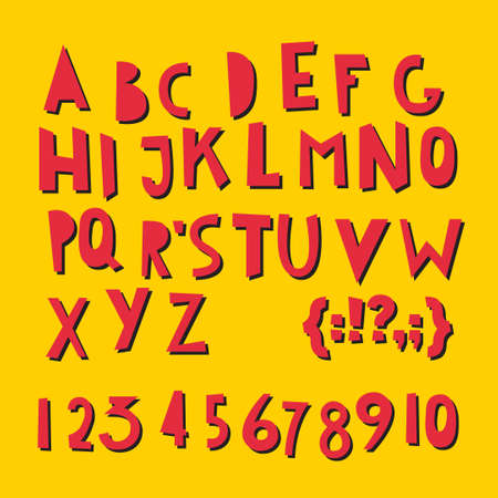ABC Latin letters and numbers. Vector set - funky alphabet