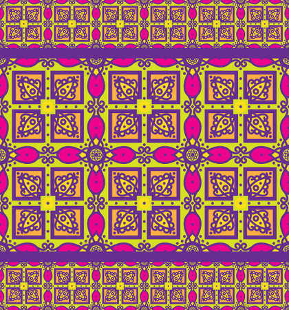 talavera: Bright traditional Talavera ornament. Mexican seamless pattern simulates colorful glazed ceramic tiles. For fabrics, prints, t-shirts, bags, wrapping paper. Illustration