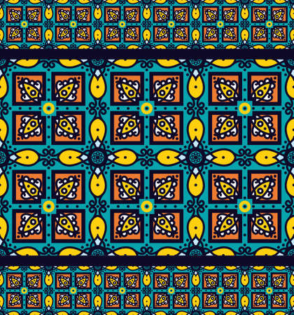 Bright traditional Talavera ornament. Mexican seamless pattern simulates colorful glazed ceramic tiles. For fabrics, prints, t-shirts, bags, wrapping paper. Ilustração