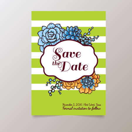 Wedding. Save The date.Trend cards with succulents and striped background. Stylish and fashionable design template invitations. Central white copy space for your text.