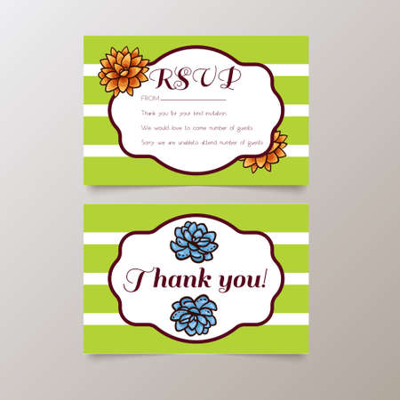 Wedding. RSVP and Thank you.Trend cards with succulents and striped background. Stylish and fashionable design template invitations. Central white copy space for your text.