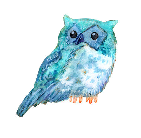 Sweet watercolor owl. Funny blue bird. The animal is suitable for prints on apparel, baby shower cards, T-shirts, bags, covers smartphones, baby products, posters. Stock Photo