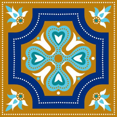 talavera: Portuguese azulejo tiles. Blue and white gorgeous seamless patte.