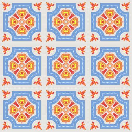 faience: Portuguese azulejo tiles. Blue and white gorgeous seamless patte.