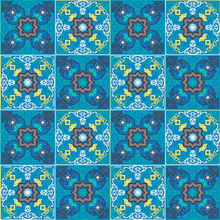 azulejos portugueses. Azul y blanco sin costuras Patte magnífica