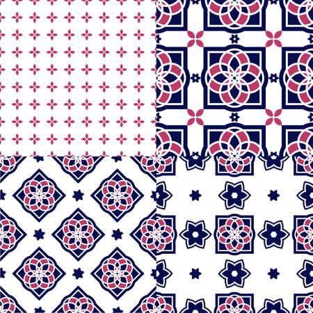 portuguese: Portuguese azulejo tiles. Seamless patterns. Illustration