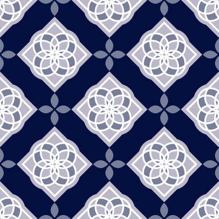 faience: Portuguese azulejo tiles. Blue and white gorgeous seamless patterns. Stock Photo