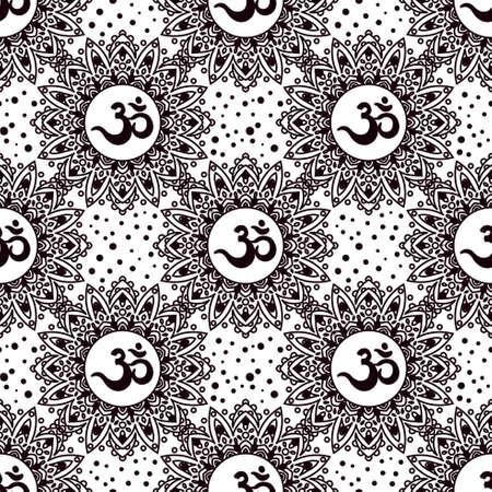 Nahtloses Muster OM-Symbols. Vintage Elemente des Schwarzen auf einem weißen Hintergrund. Buddhistische, indische Motive Yoga, Meditation, Spiritualität. Standard-Bild - 72069834