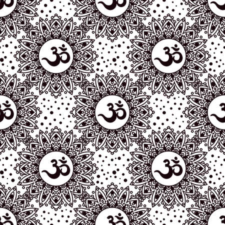 Om symbol seamless pattern. Vintage elements of black on a white background. Buddhist, Indian motifs yoga, meditation, spirituality.