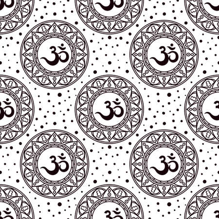 Om symbol seamless pattern. Ilustração