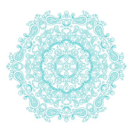 Round ornament vintage floral mandala. The esoteric symbol on a white background. Om sign in the eastern style, Indian ethnic ornament.