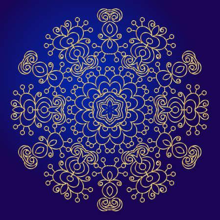 Mandala, amulet. Esoteric gold symbol on a blue background. Illustration