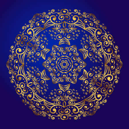 Mandala, amulet. Esoteric gold symbol on a blue background. Illustration