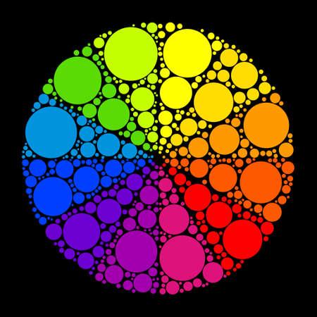 Color wheel or color circle on black background