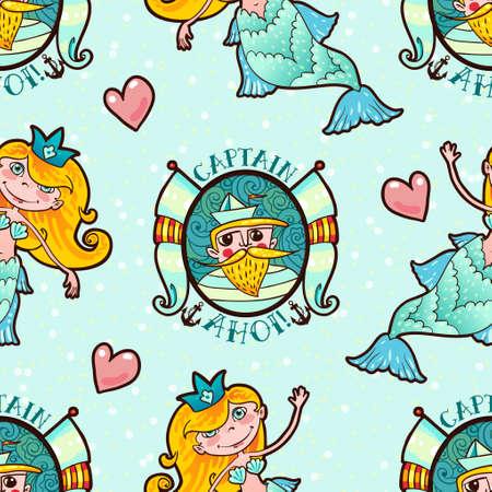 seamaid: Mermaid and Seaman seamless pattern. Kawaii Maritime princess.