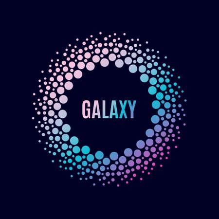 Galaxia del cartel del vector. Marco del círculo de Halfton Ilustración de vector