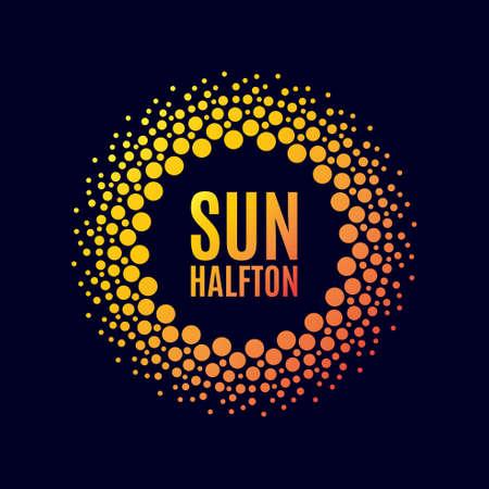 Vector poster sun. Halftone