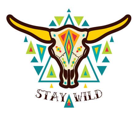cráneo de vaca en estilo boho. nativo americano Ilustración de vector
