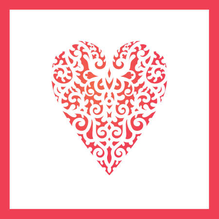 chipboard: Template heart with flowers for laser cutting, chipboard scrapbooking.