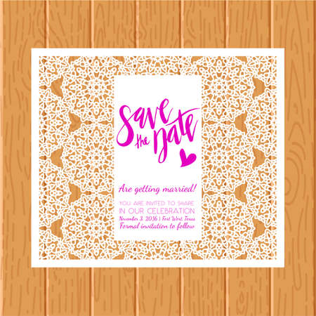 Save the date card. Laser cutting pattern. Illustration