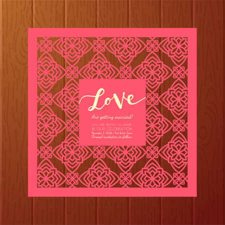 insertion: Save the date card. Laser cutting pattern. Illustration