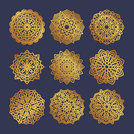 Set of gold mandalas. Indian wedding meditation. Illustration